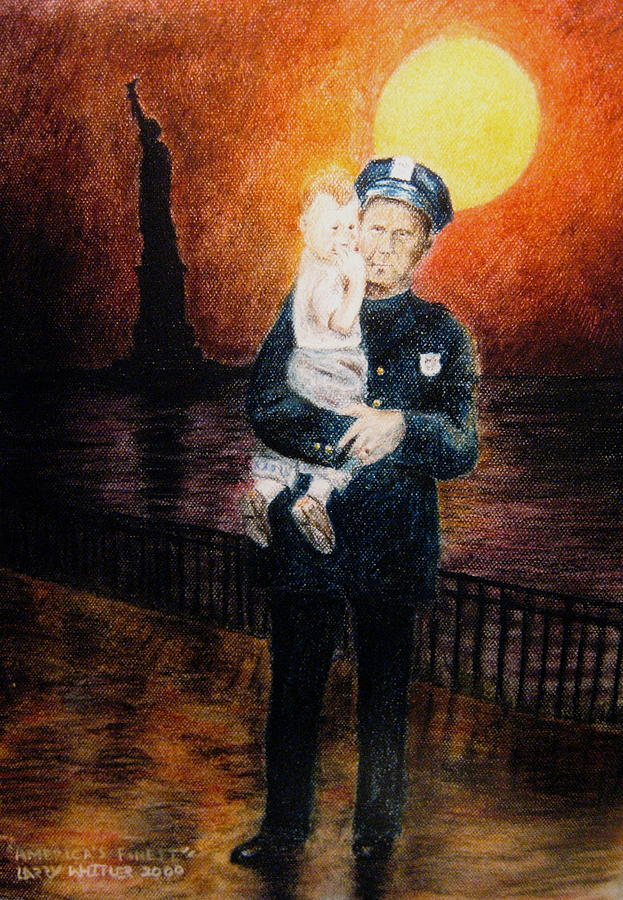Police Pastel - Officer Daddy by Larry Whitler