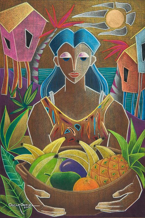Female Painting - Ofrendas De Mi Tierra by Oscar Ortiz