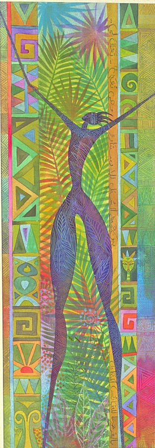 Tropical Spiritual Exotic Joy Figure Patterns Painting - Oh What Joy by Jennifer Baird
