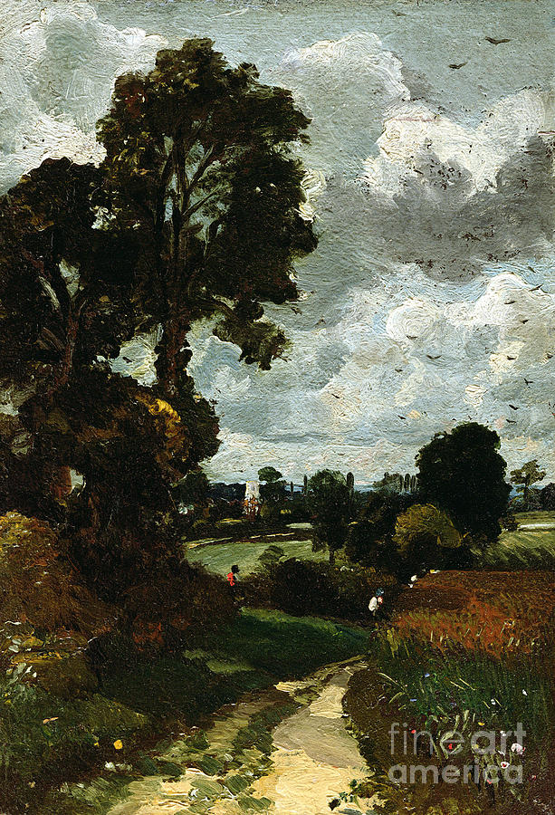 Oil Painting - Oil Sketch Of Stoke-by-nayland by John Constable