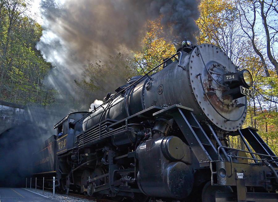 Train Photograph - Old 734 Locomotive Train On The Western Maryland Scenic Railroad by Brendan Reals