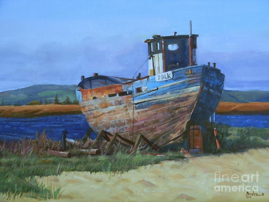 Old abandoned boat painting by noe peralez for Fishing boat painting