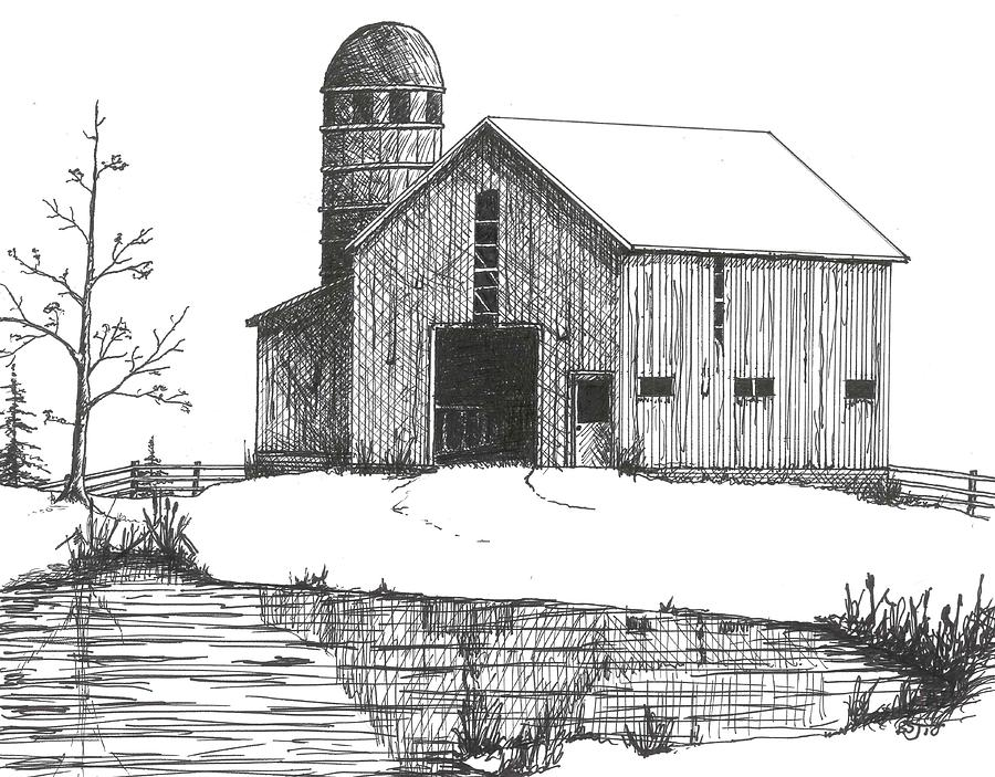 Landscape Drawing - Old Barn 1 by BJ Shine