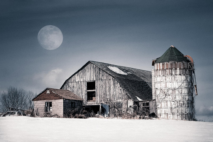 Old Barn And Winter Moon - Snowy Rustic Landscape Photograph