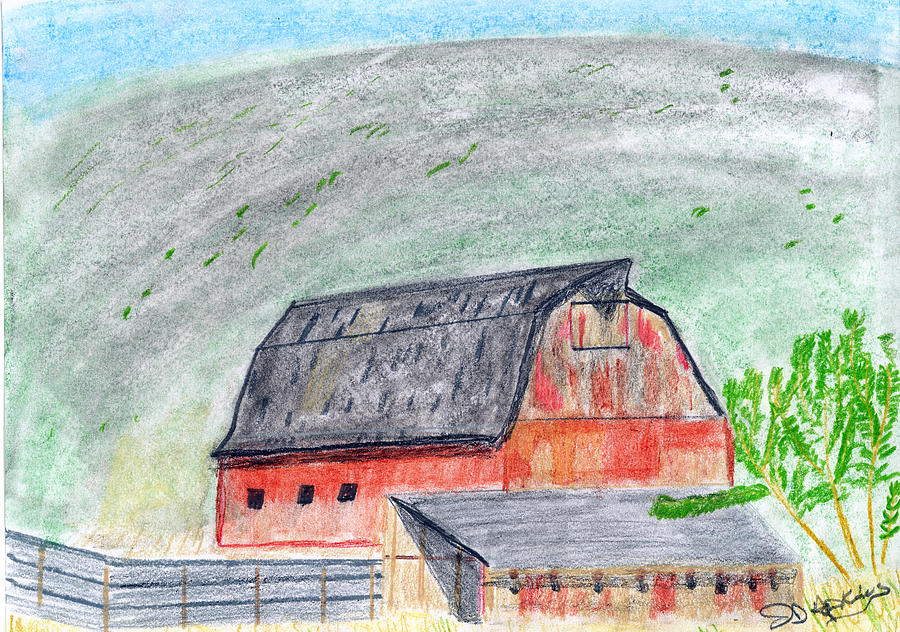 Red Barn Drawing - Old Barn by John Hoppy Hopkins