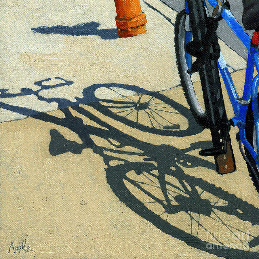 Bicycle Painting - Old Blue by Linda Apple