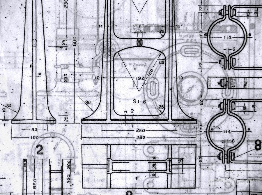 Blueprint Photograph - Old Blueprints by Yali Shi