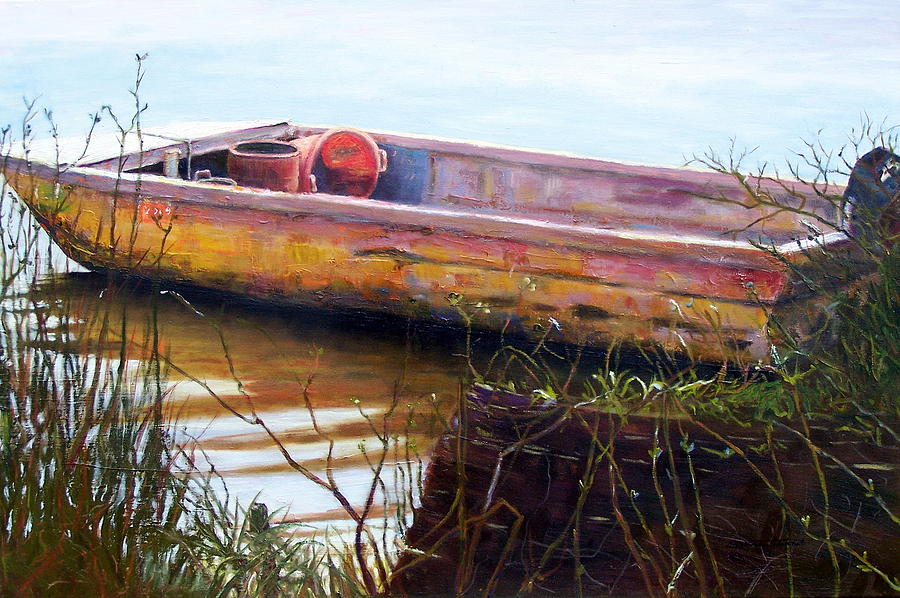 Old Boat Painting - Old Boat At Mcclellandville by Elaine Schulstad