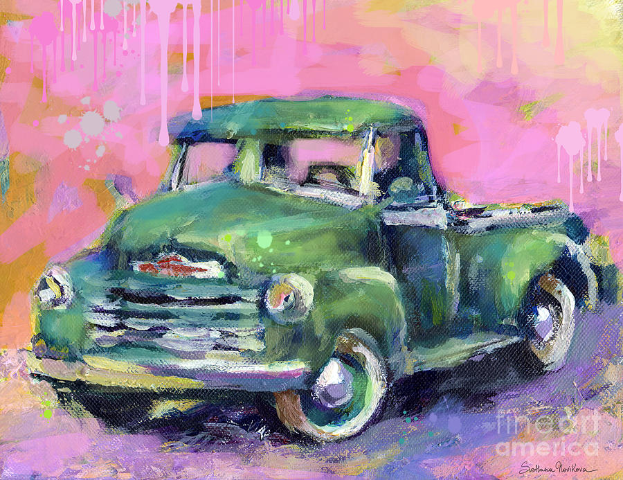 Old Chevrolet Pickup Truck Painting Prints Painting - Old Chevy Chevrolet Pickup Truck On A Street by Svetlana Novikova