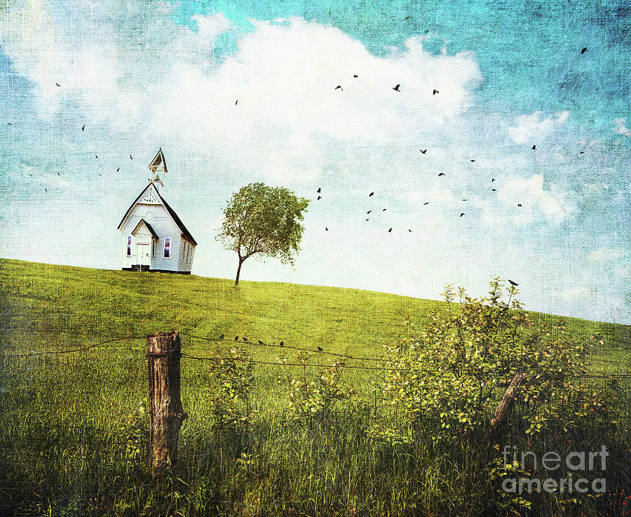 Abstract Photograph - Old Country School House  On A Hill  by Sandra Cunningham