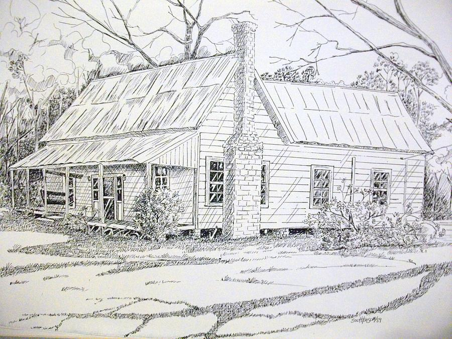 old farmhouse drawing by scott easom