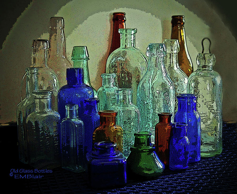 old glass bottles painting by eileen blair