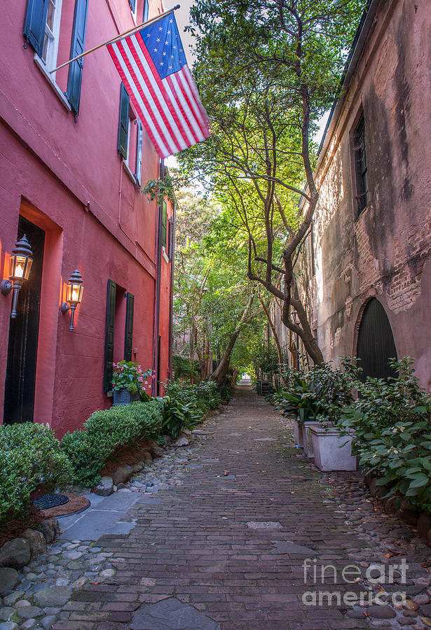 Old Glory Flying Over Philadelphia Alley Photograph