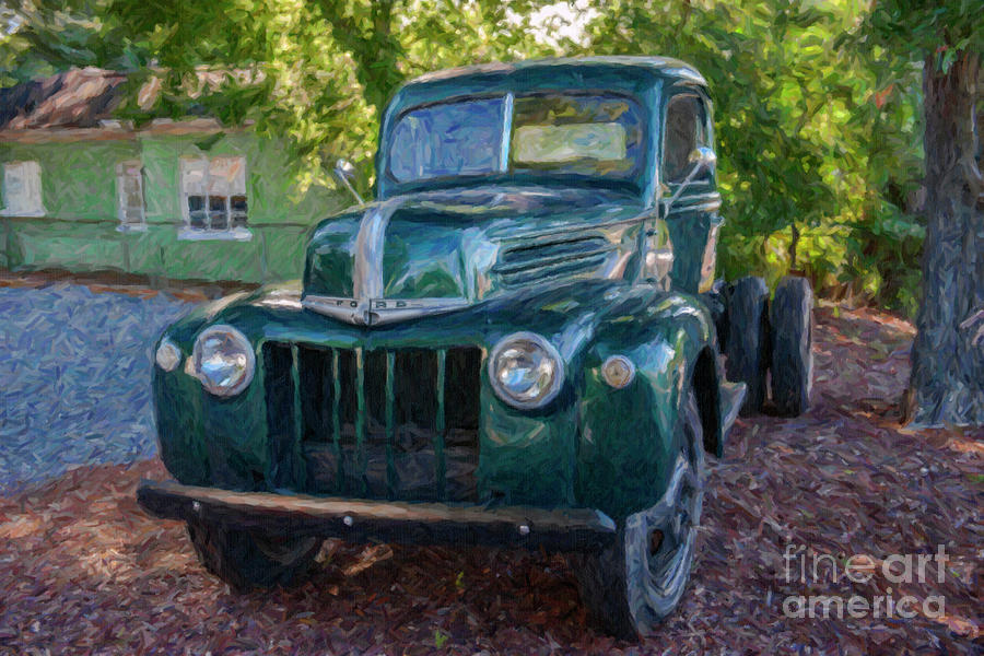 Old Green Ford Farm Truck Photograph