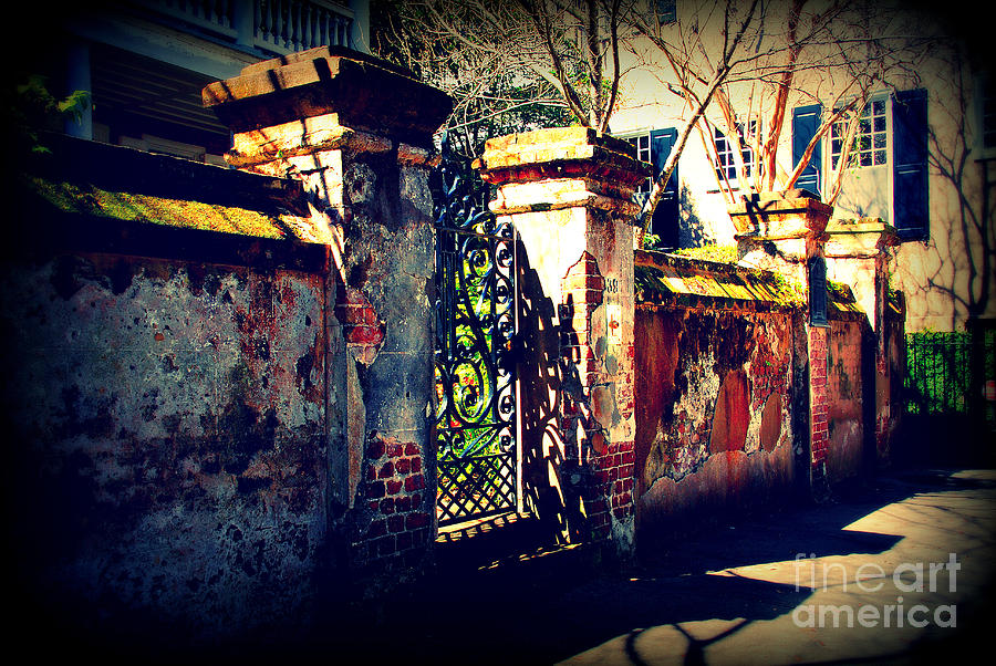 Gate Photograph - Old Iron Gate In Charleston Sc by Susanne Van Hulst