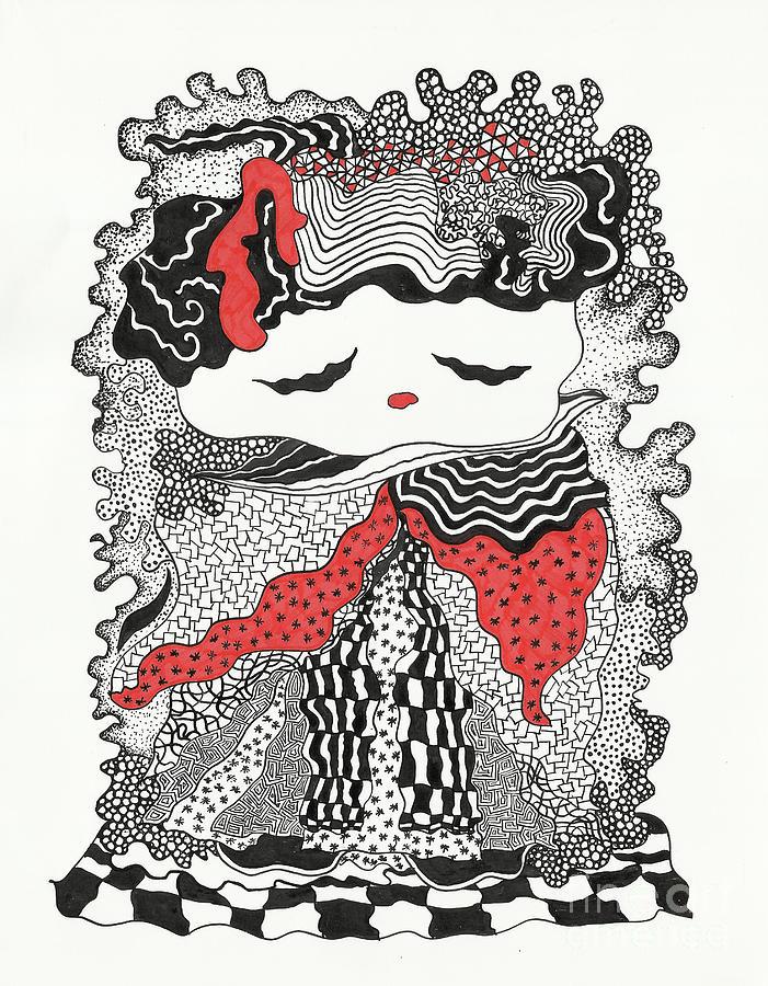 Indian Ink Drawing - Old Lady by Fla Arakaki