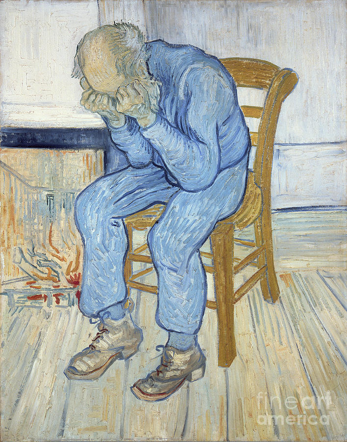 Male; Elderly; Seated; Head In Hands; Despair; Desperate Painting - Old Man In Sorrow by Vincent van Gogh