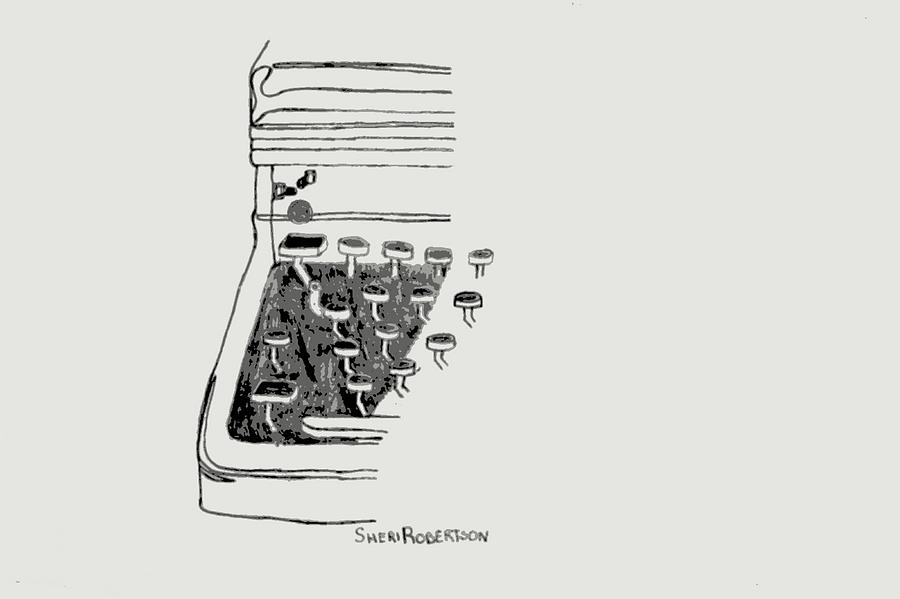 Old Manual Typewriter Drawing