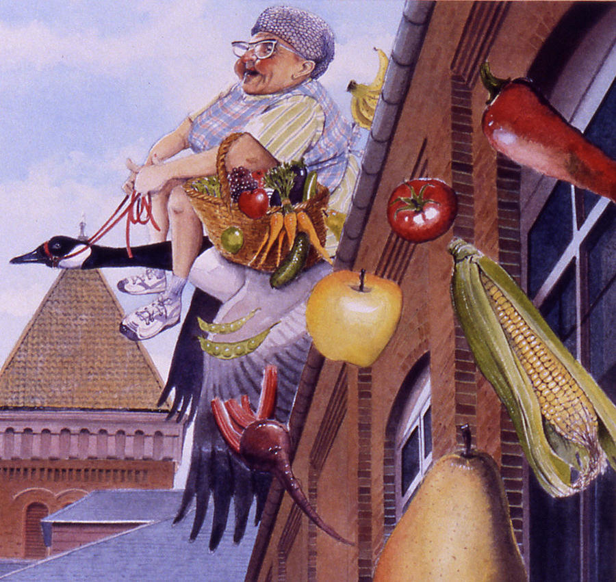 Old Mother Goose Rhymes Paintings Painting - Old Mother Goose by Denny Bond