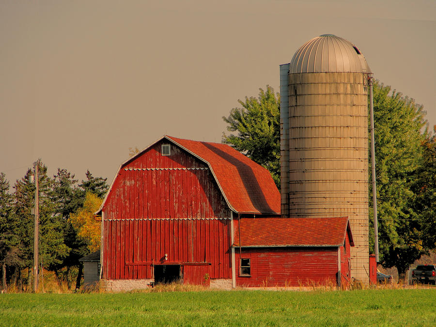 old red barn and silo photograph by victoria sheldon