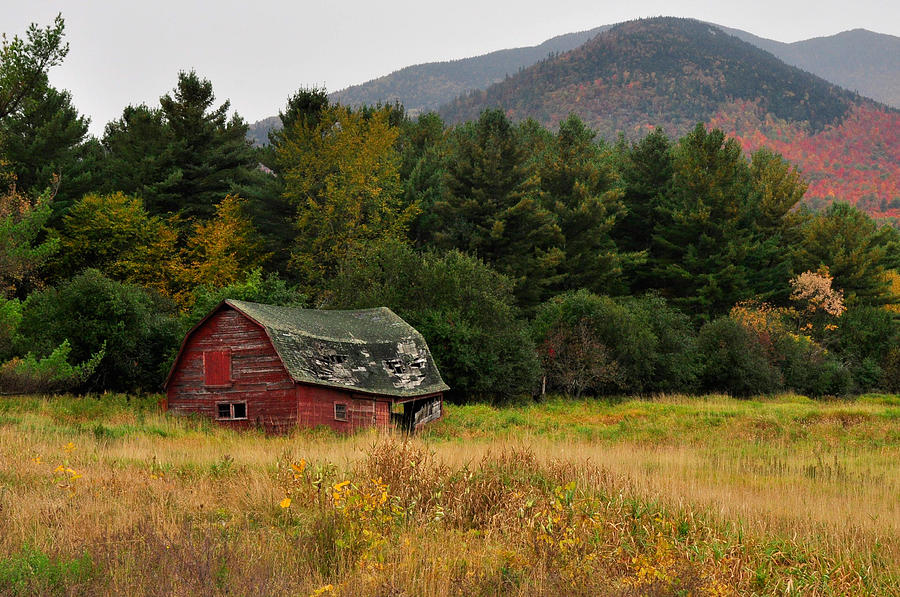 Red Photograph - Old Red Barn In The Adirondacks by Nancy  de Flon