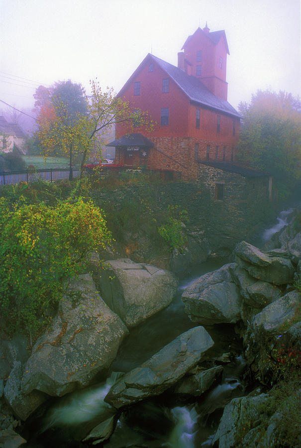 Vermont Photograph - Old Red Mill Jericho Vermont by John Burk