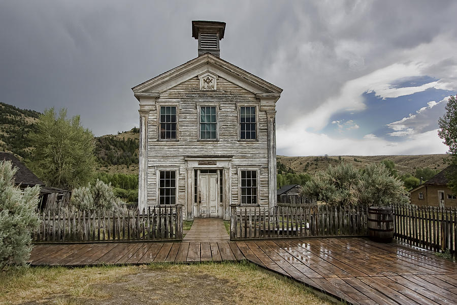 Bannack Photograph - Old School House After Storm - Bannack Montana by Daniel Hagerman