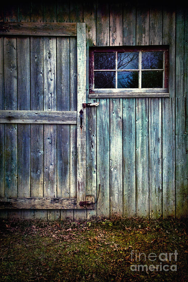 Atmosphere Photograph - Old Shed Door With Spooky Shadow In Window by Sandra Cunningham
