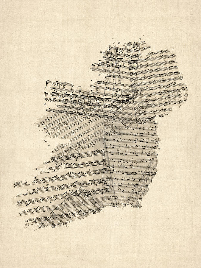 Ireland Map Digital Art - Old Sheet Music Map Of Ireland Map by Michael Tompsett