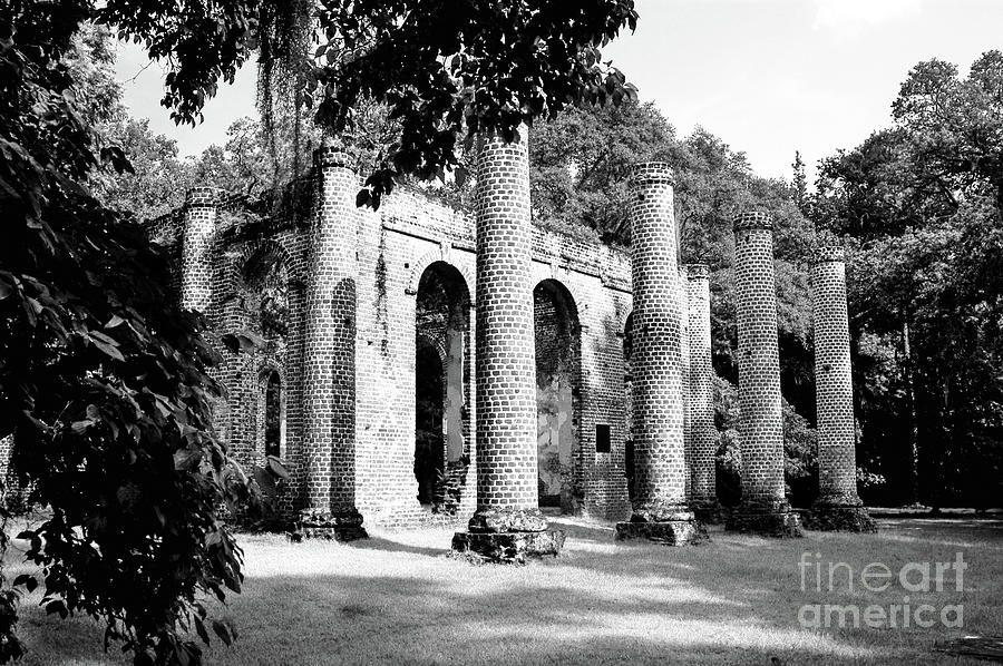 Old Sheldon Church Ruins Infrared Photograph