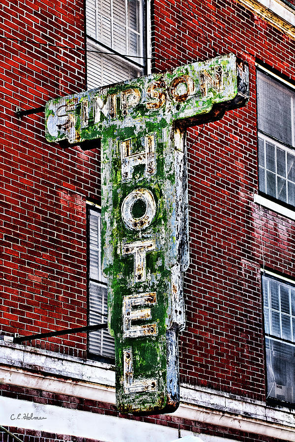 Architecture Photograph - Old Simpson Hotel Sign by Christopher Holmes