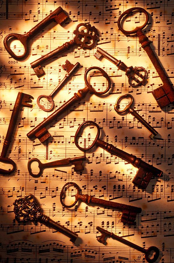 Key Photograph - Old Skeleton Keys On Sheet Music by Garry Gay