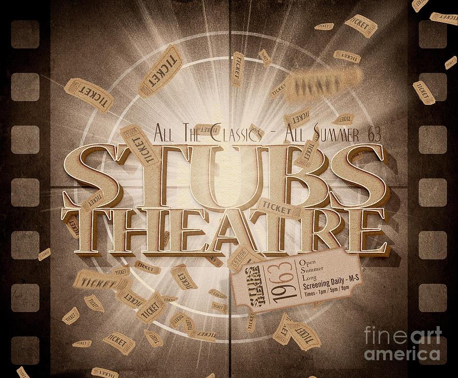 Old Stubs Theatre Advert Digital Art