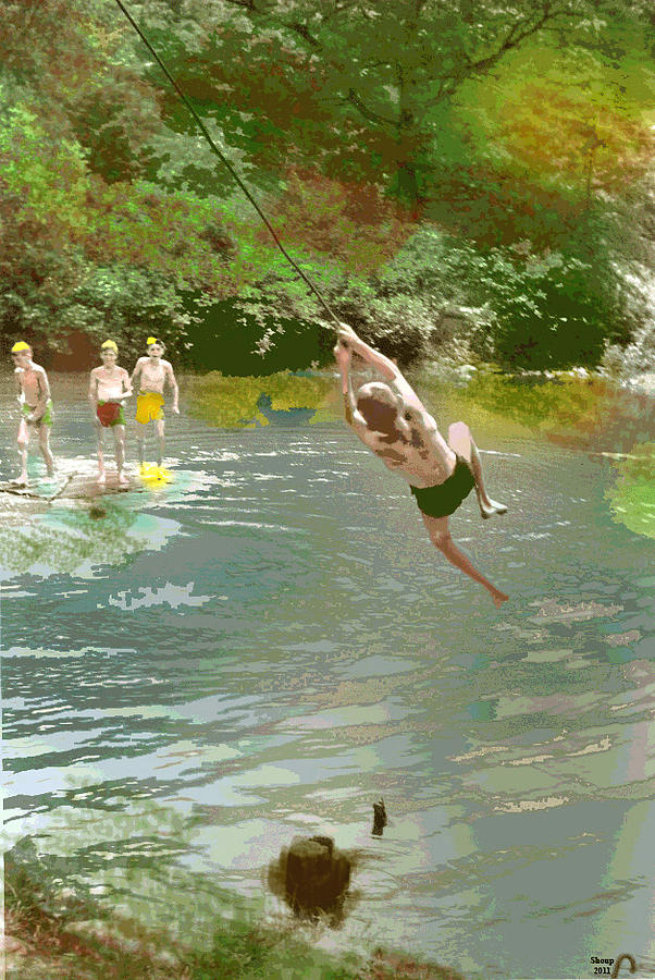 Young Boys Mixed Media - Old Swimming Hole by Charles Shoup