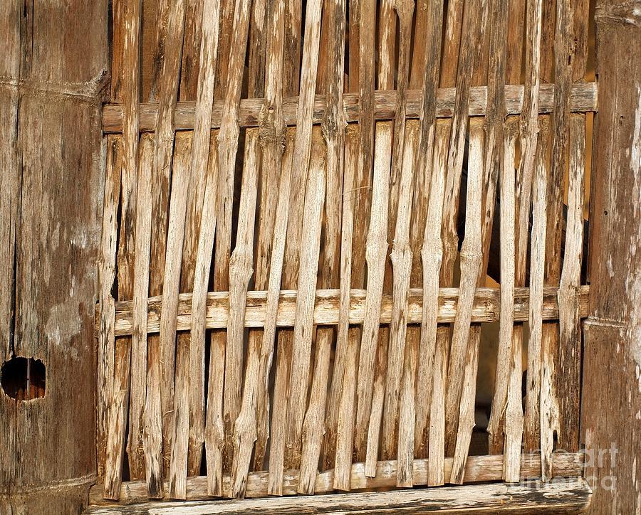 Bamboo Photograph - Old Wall Made From Bamboo Slats by Yali Shi