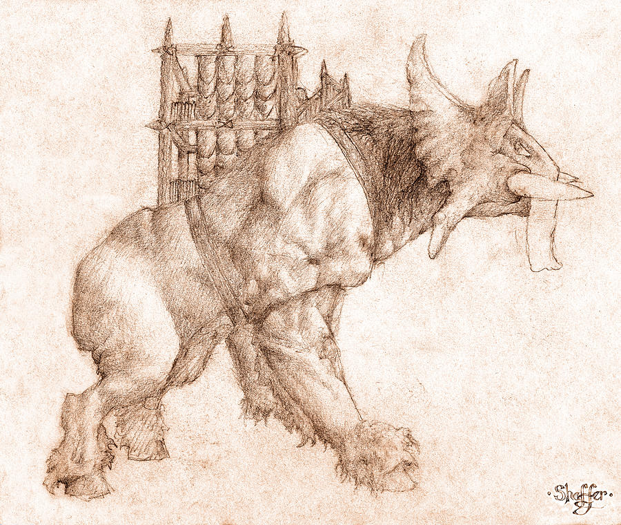 Lord Of The Rings Drawing - Oliphaunt by Curtiss Shaffer