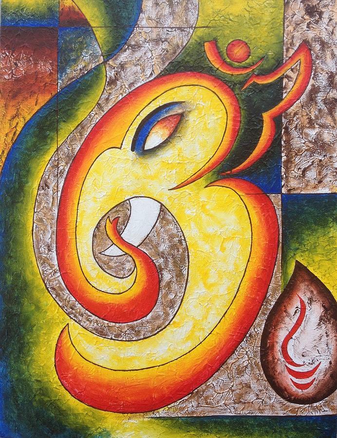 Om Ganeshaya Namah Painting by Seema Jain