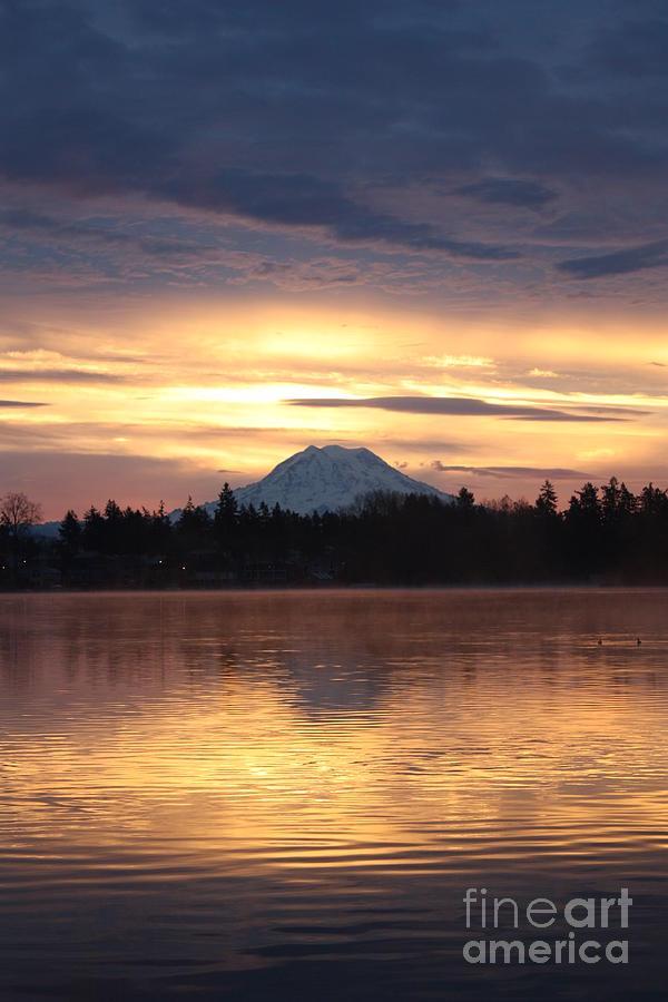 Mt. Rainier Photograph - On American Lake  by C E Dyer