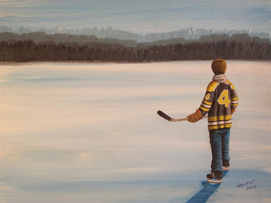 Bobby Orr Painting - On Frozen Pond - Bobby by Ron  Genest