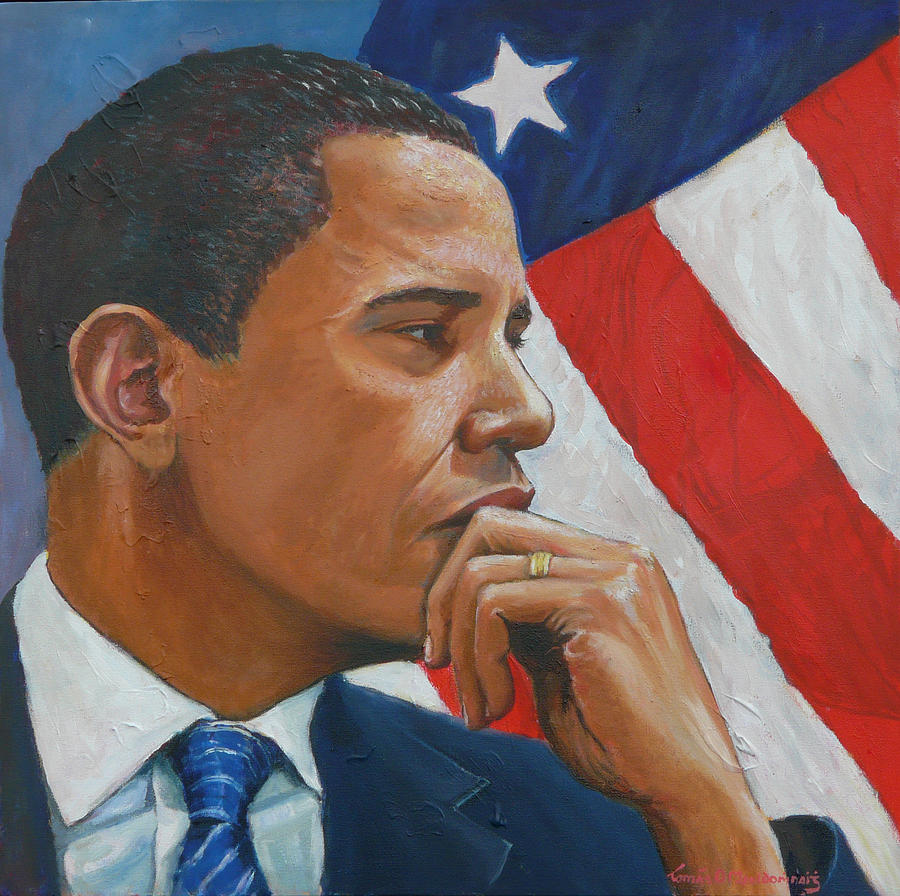 Obama Painting - On Reflection by Tomas OMaoldomhnaigh