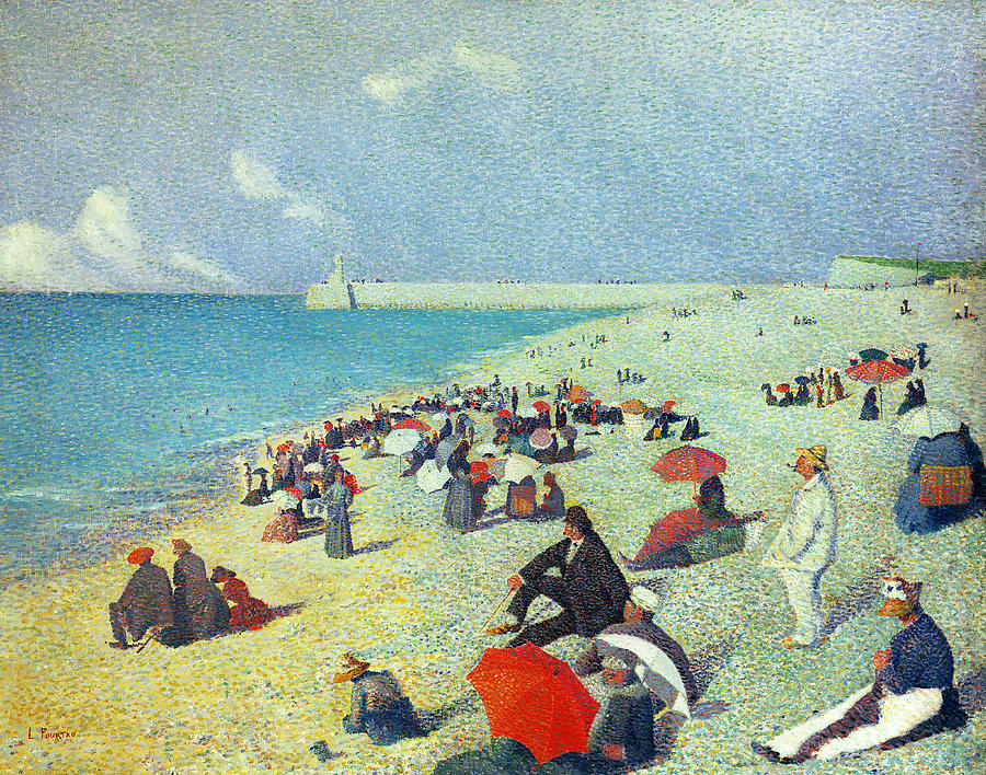 Beach Painting - On The Beach by Leon Pourtau