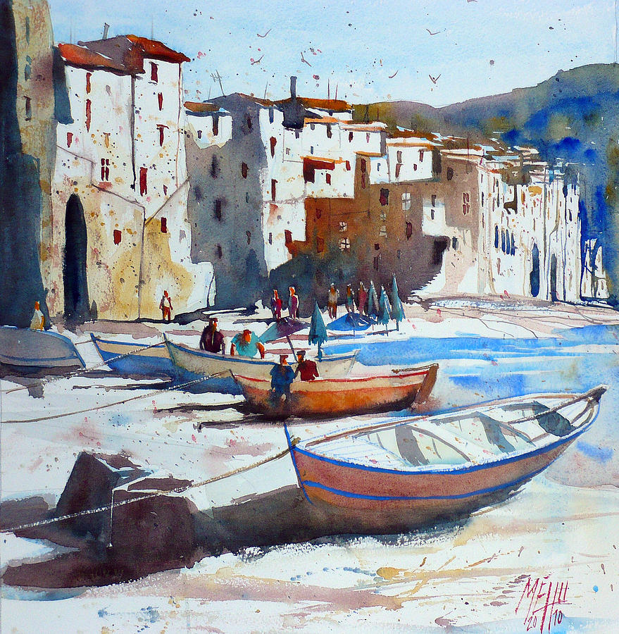 Watercolor Painting - On The Beach Of Cefalu by Andre MEHU