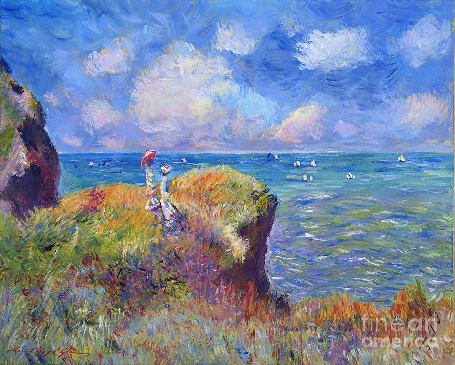 Landscape Painting - On The Bluff At Pourville - Sur Les Traces De Monet by David Lloyd Glover