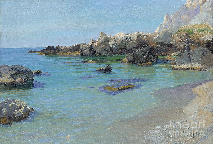 Coastal shower curtain - On The Capri Coast Painting By Paul Von Spaun