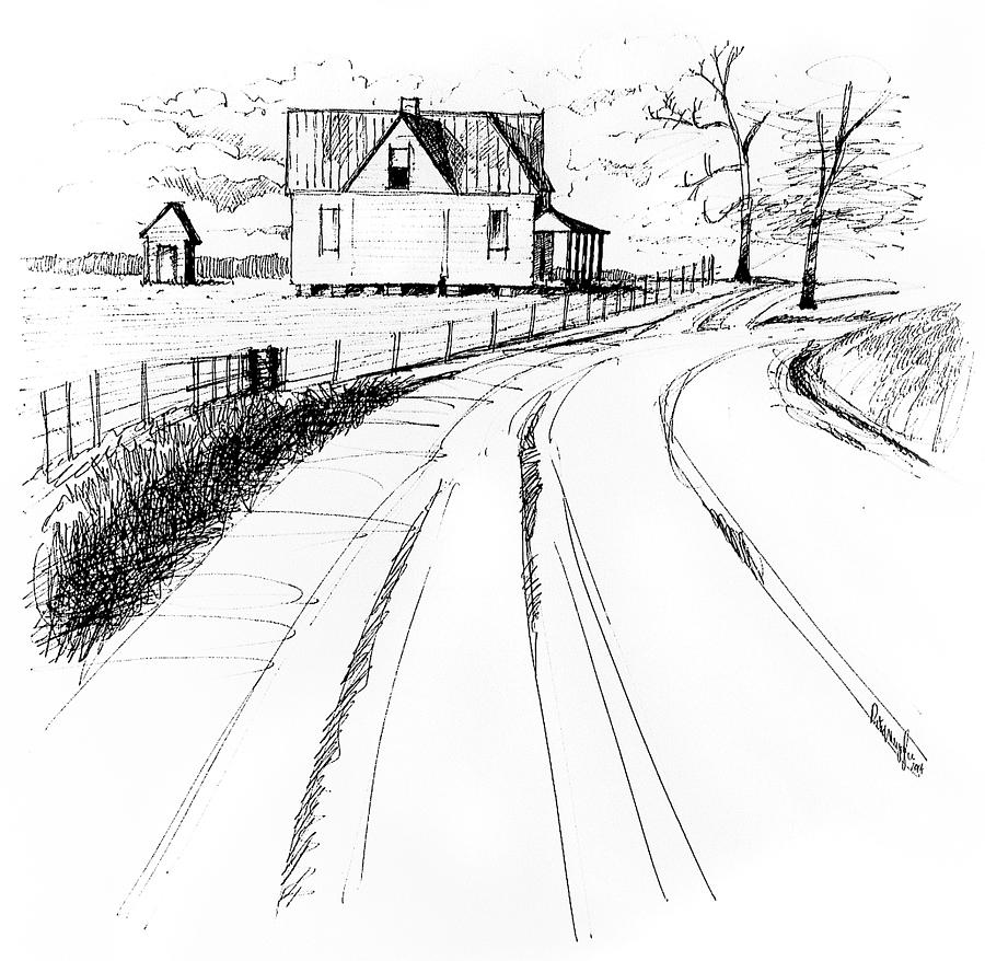 Line Drawing Landscape : On the county line drawing by peter muzyka