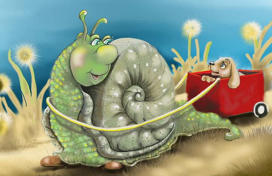 Snail And Puppy. Snail And Puppy Poster Drawing - On The Road To Better Places by Hank Nunes