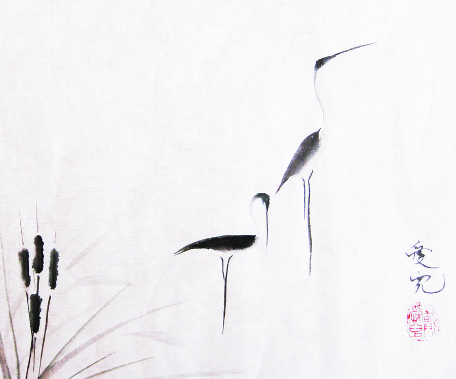 Sumi Painting - On Typha Pond by Oiyee At Oystudio