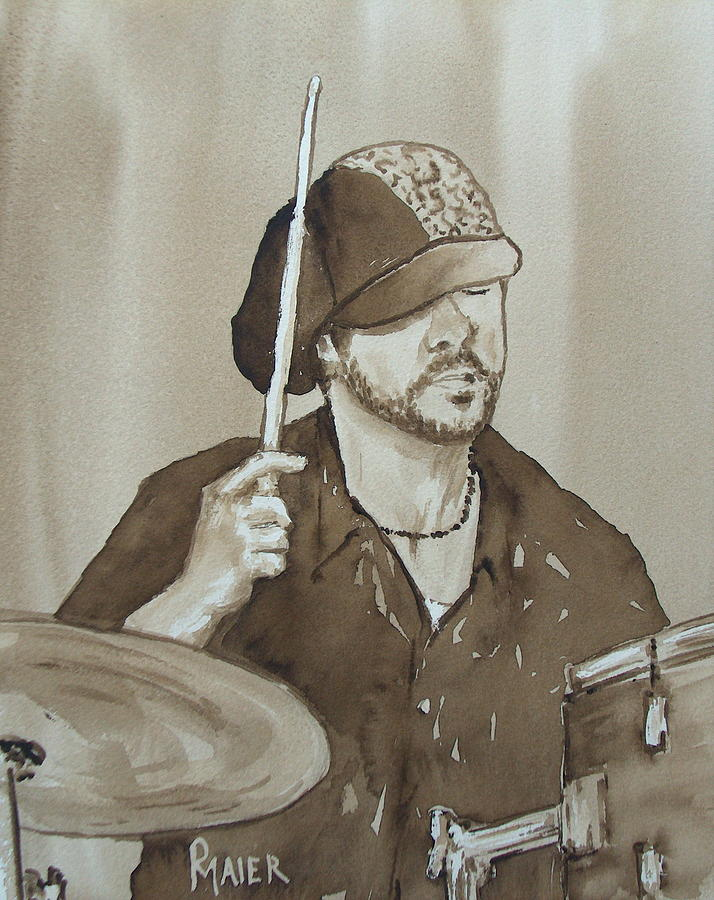 Drummer Painting - One Eyed Pete by Pete Maier