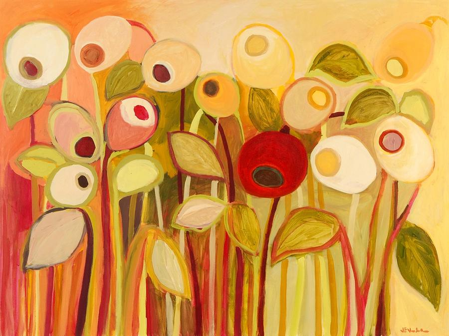 Floral Painting - One Red Posie by Jennifer Lommers
