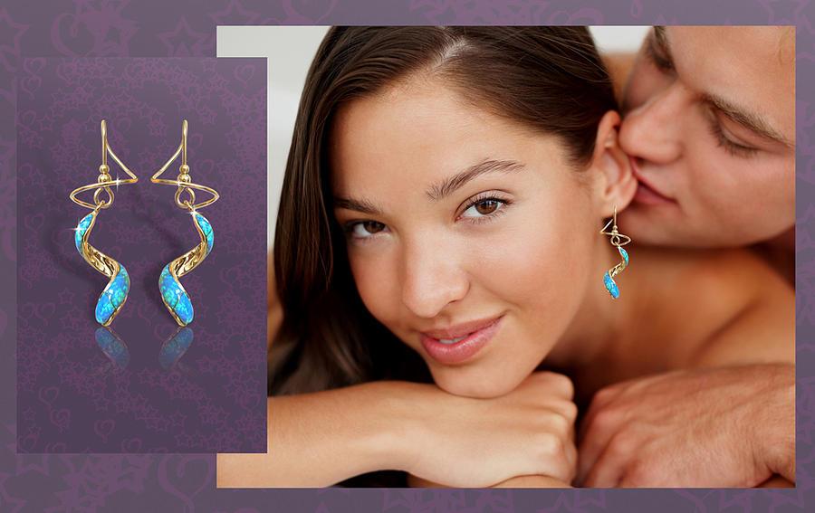Opal Jewelry - Opal Spiral Earspirals by Harry Mason